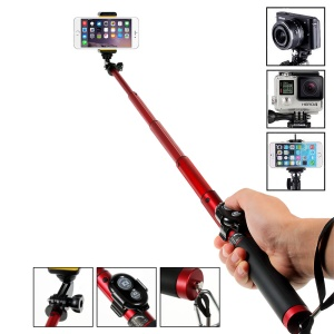 H611 Outdoor GoPro + Smartphone Selfie Stick for iPhone Samsung HTC LG Sony - Red