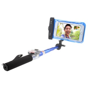 ASHUTB KIT-S6WP Extendable Selfie Stick Monopod + Bluetooth Remote Shutter + Waterproof Bag + Adjustable Holder for iPhone Samsung - Blue