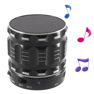 S28 Metal Shell Mini Stereo Bluetooth Speaker with Microphone for iPhone Samsung Sony - Black
