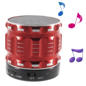 S28 Metal Shell Mini Stereo Bluetooth Speaker with Microphone for iPhone Samsung Sony - Red
