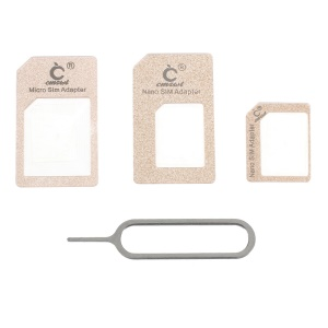 CMZWT 4 in 1 Nano SIM to Micro SIM / Standard SIM Card Adapter with Eject Pin for iPhone 6 6s / 6s Plus Etc - Gold Color