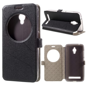 View Window Smart Leather Case for Asus Zenfone Go ZC500TG with Stand - Black
