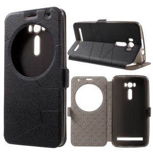 Sand-like Smart Flip Leather Window Stand Case for Asus Zenfone 2 Laser ZE600KL ZK601KL - Grey