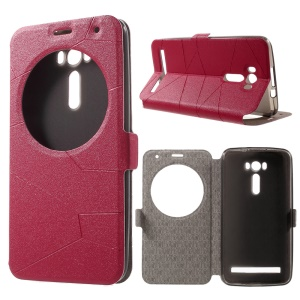 Sand-like Smart Flip Leather Window Stand Case for Asus Zenfone 2 Laser ZE600KL ZK601KL - Red