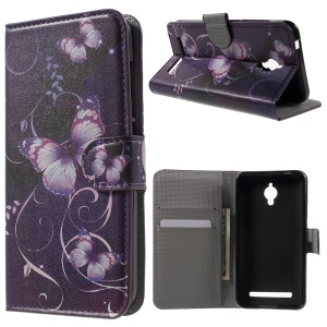 Wallet Leather Stand Cover for Asus Zenfone Go ZC500TG - Purple Butterfly