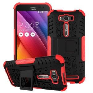 2-in-1 Anti-slip Kickstand PC + TPU Shell for Asus Zenfone 2 Laser ZE500KG ZE500KL 5.0-inch - Red
