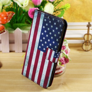 Callfree Wallet Stand Leather Cover for Asus Zenfone 2 Laser ZE550KL 5.5-inch - Vintage American Flag