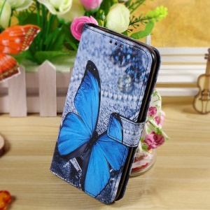 Callfree Wallet Stand Leather Shell for Asus Zenfone 2 Laser ZE550KL 5.5-inch - Blue Butterfly