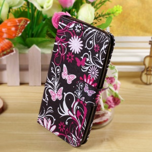 Callfree Wallet PU Leather Case for Asus Zenfone 2 Laser ZE550KL 5.5-inch - Butterflies and Flowers