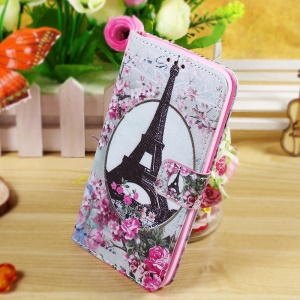 Callfree Wallet Leather Phone Case for Asus Zenfone 2 Laser ZE550KL 5.5-inch - Eiffel Tower and Flower