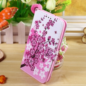 Callfree Flip Stand Protective Leather Case for Asus Zenfone 2 Laser ZE550KL 5.5-inch - Wintersweet Flower