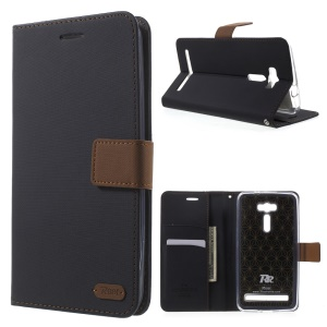 ROAR KOREA Twill Leather Wallet Case for Asus Zenfone 2 Laser ZE601KL ZE600KL - Black