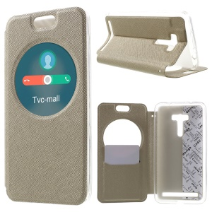 Cross Grain View Window Smart Leather Case for Asus Zenfone Selfie ZD551KL with Card Slot - Champagne
