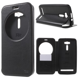 ROAR KOREA Noble Leather View Window Shell for Asus Zenfone 2 Laser ZE601KL ZE600KL - Black