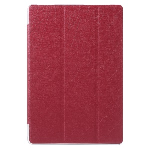 Lines Texture Leather Case Cover with Tri-fold Stand for Asus ZenPad 10 Z300C Z300CL Z300CG - Red