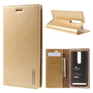 MERCURY GOOSPERY Blue Moon PU Leather Wallet Case for Asus Zenfone 2 ZE550ML ZE551ML - Gold