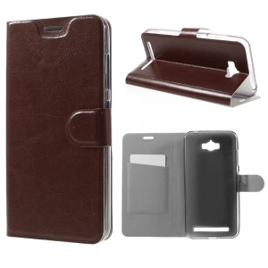 Crazy Horse Leather Card Holder Case for Asus Zenfone Max ZC550KL - Brown