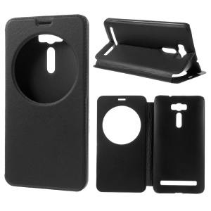 View Window Leather Stand Case for Asus Zenfone 2 Laser ZE600KL ZK601KL - Black