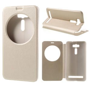 For Asus Zenfone 2 Laser ZE600KL ZK601KL View Window Leather Stand Protective Case - Gold