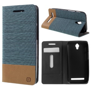 Assorted Color Linen Leather Stand Case for Asus Zenfone Go ZC450TG - Baby Blue