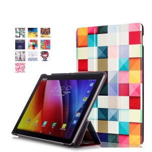 Pattern Printing Tri-fold Leather Stand Case for Asus ZenPad 10 Z300 - 3D Visualization