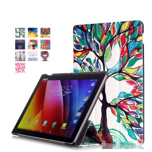 Pattern Printing Tri-fold Leather Stand Phone Cover for Asus ZenPad 10 Z300 - Magic Tree