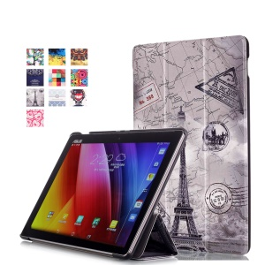 For Asus ZenPad 10 Z300 Pattern Printing Tri-fold Leather Stand Protective Case - Eiffel Tower and Map
