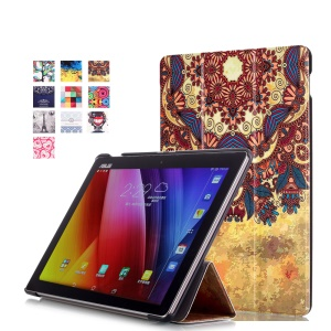 For Asus ZenPad 10 Z300 Pattern Printing Tri-fold Leather Stand Flip Case - Vintage Flower