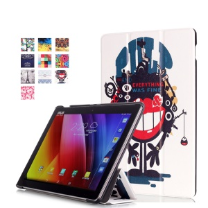 For Asus ZenPad 10 Z300 Pattern Printing Tri-fold Leather Stand Case - Strong-willed Monster
