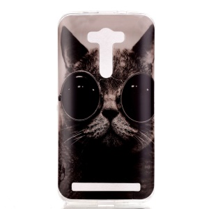 Soft IMD TPU Protective Case for Asus Zenfone Selfie ZD551KL - Adorable Cat Wearing Glasses