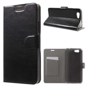Crazy Horse Grain Card Holder Leather Stand Case for Asus Pegasus 5000/X005 - Black