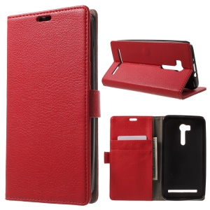 Lychee Texture Leather Case Wallet Stand for Asus ZenFone GO TV ZB551KL - Red