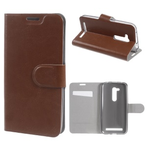 Crazy Horse Leather Card Holder Cover for Asus Zenfone Go (ZB452KG) - Brown