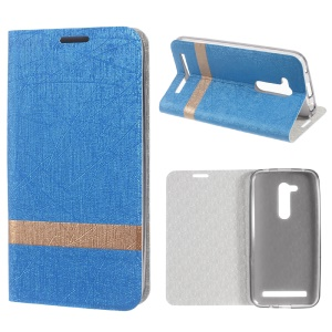 Lines Texture Two-tone Leather Stand Shell for Asus Zenfone Go (ZB452KG) - Baby Blue