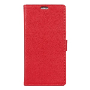 Litchi Skin Leather Wallet Case Cover for Asus Zenfone Go (ZB452KG) - Red