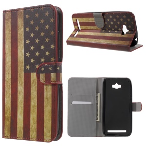 PU Leather Card Holder Cover for Asus Zenfone Max ZC550KL - Retro American Flag