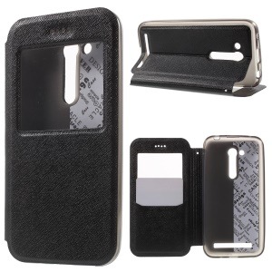 Cross Texture Smart Window Leather Case for Asus Zenfone Go 4.5 ZB452KG - Black