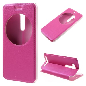 Hollow View Window Leather Stand Shell for Asus Zenfone Go ZB452KG - Rose