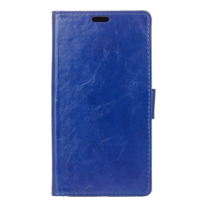 Crazy Horse Wallet Stand Leather Protective Cover for Asus Zenfone 3 ZE552KL - Dark Blue