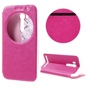 Smart View Window Leather Stand Shell for Asus ZenFone Go TV/Go (ZB551KL) with Card Slot - Rose