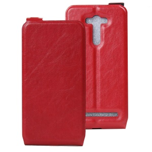 Vertical Flip Leather ID Card Slot Cover for Asus Zenfone 2 Laser ZE550KL - Red