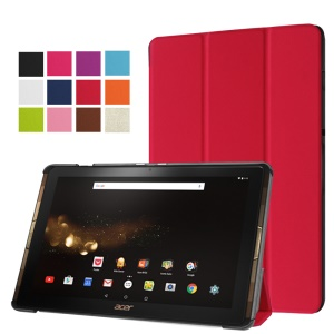 Tri-fold Stand Leather Case Cover for Acer Iconia Tab 10 A3-A40 - Red
