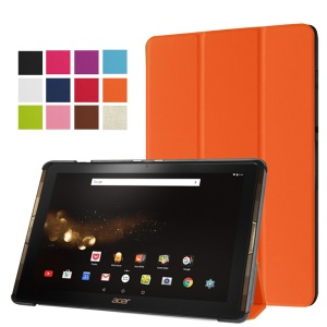 Tri-fold Leather Stand Case for Acer Iconia Tab 10 A3-A40 - Orange