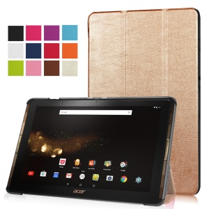Tri-fold Leather Stand Cover for Acer Iconia Tab 10 A3-A40 - Champagne