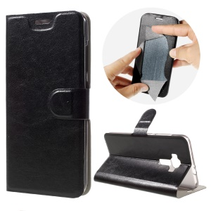 Crazy Horse Stand Leather Case for Asus Zenfone 3 ZE552KL Built-in Steel Sheet - Black