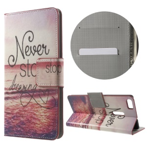 Patterned Leather Wallet Shell for Asus Zenfone 3 Ultra ZU680KL - Never Stop Dreaming