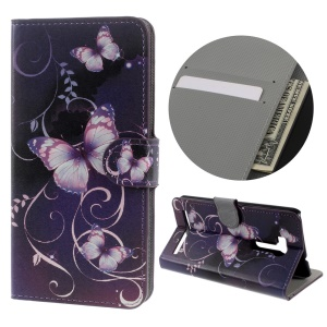 Leather Stand Case for Asus ZenFone Go/Go TV ZB551KL - Purple Butterflies and Vines
