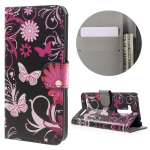 Wallet Leather Stand Case for Asus Zenfone Go (ZB452KG) - Butterfly Flowers