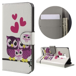 Leather Stand Cover with Card Slots for Asus Zenfone Go (ZB452KG) - Owls and Hearts