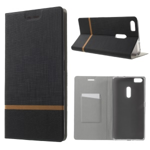 Assorted Color Cross Texture Leather Shell for Asus Zenfone 3 Ultra ZU680KL - Black